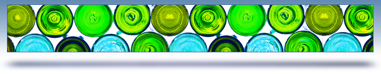 specialized services graphic header - different colored glass bottles
